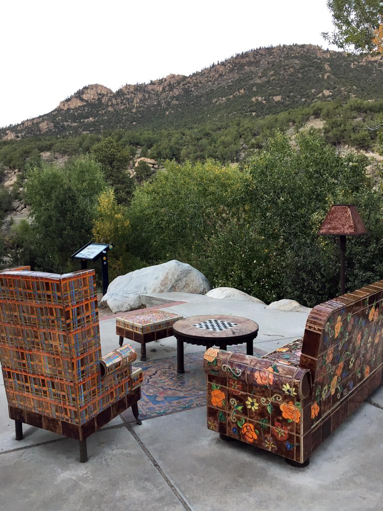 tilework furniture facing toward a view of the mountains in Buena Vista Colorado