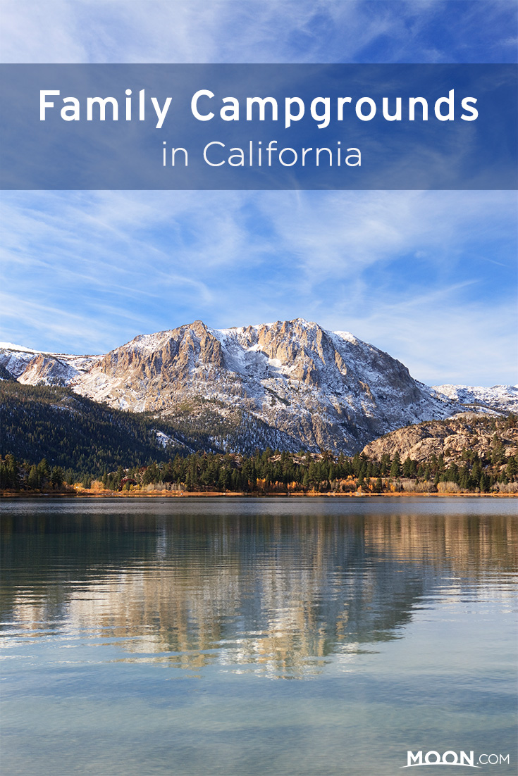 family campgrounds in california pinterest graphic