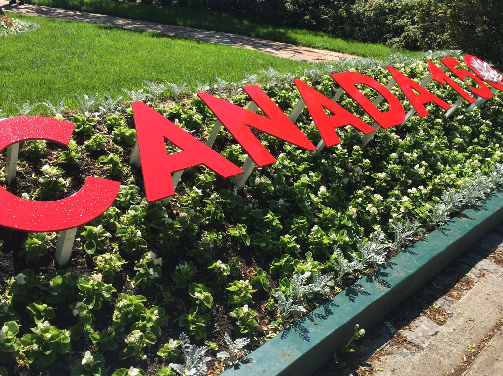 lawn sign spelling out Canada 150
