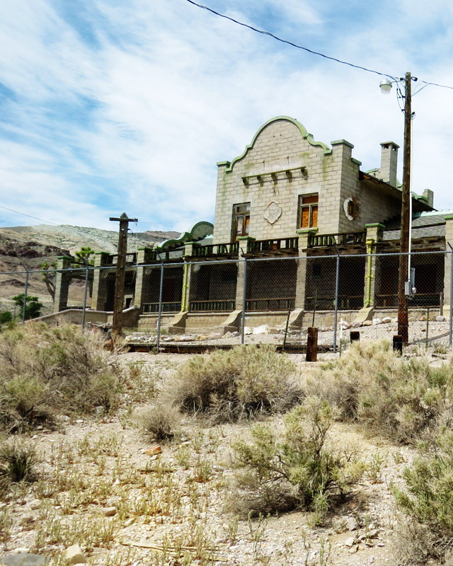 Rhyolite's well-preserved train station.