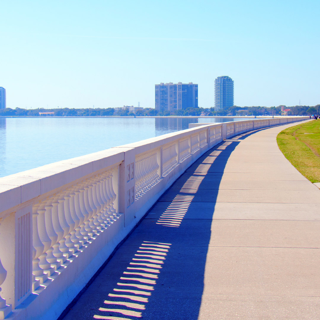 walkway with raining along Tampa Bay