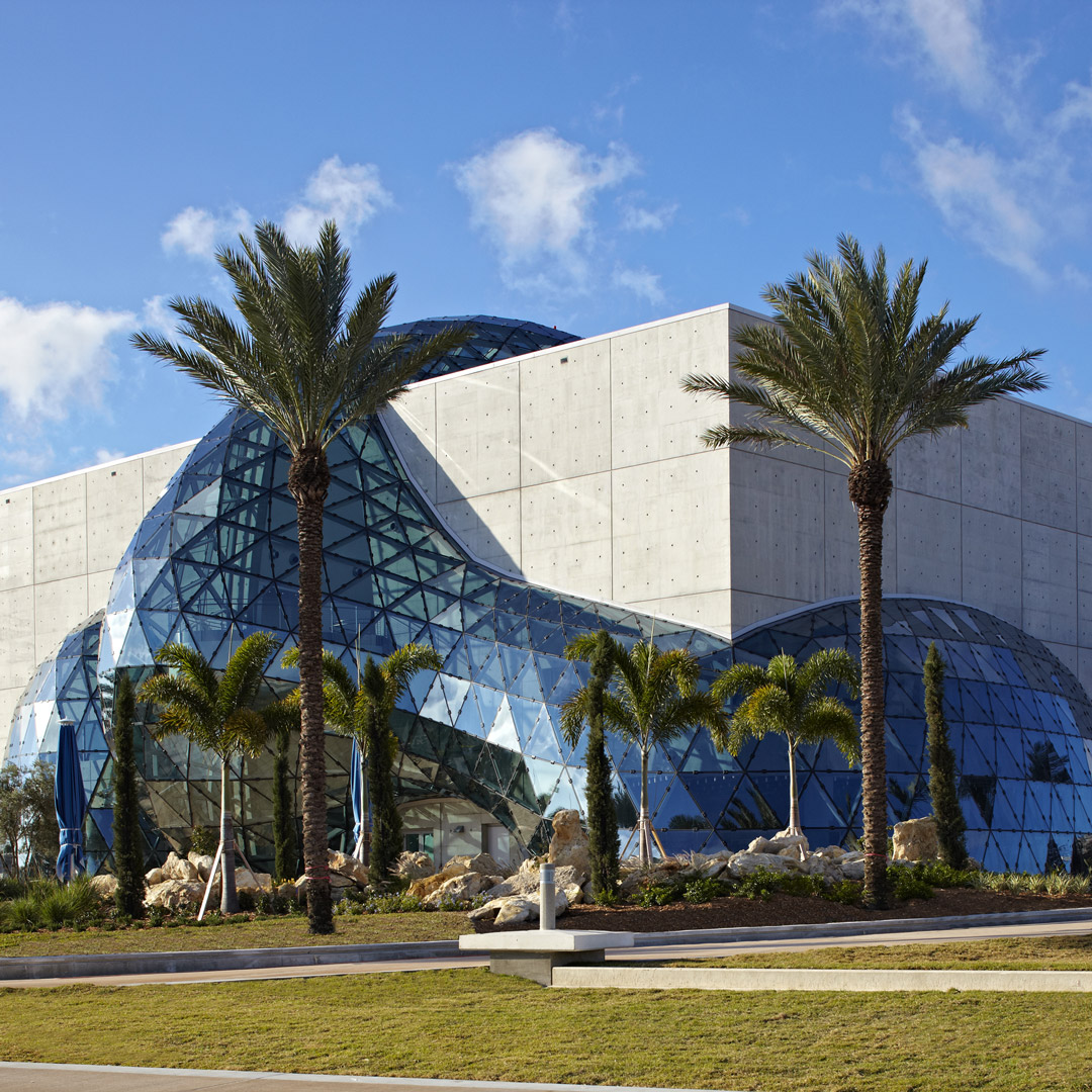 front facade of Dali Museum in St. Petersburg Florida