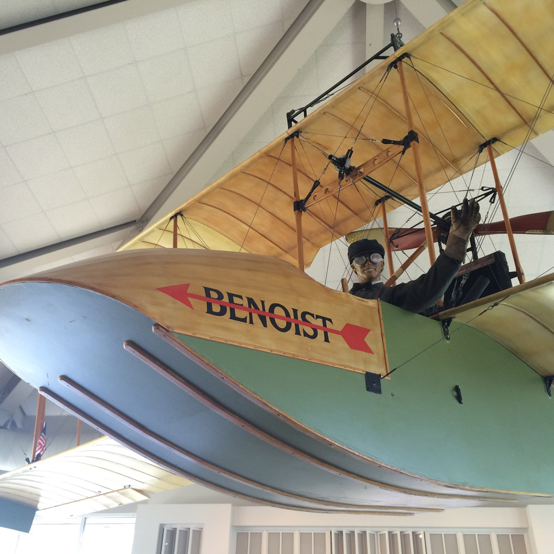 replica of the Benoist airplane at the St. Petersburg Museum of History