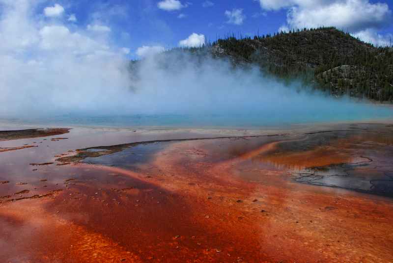 steam wafting from grand prismatic spring