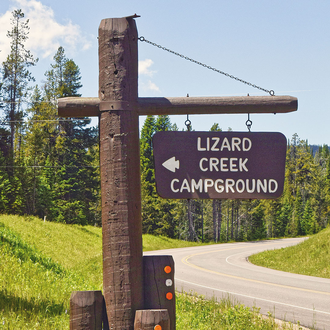 sign pointing to Lizard Creek Campground in Grand Teton National Park