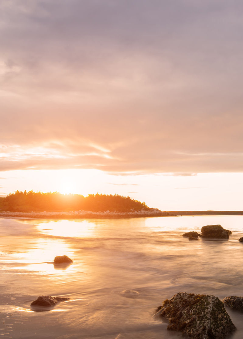 Sunset at Crystal Crescent Beach.