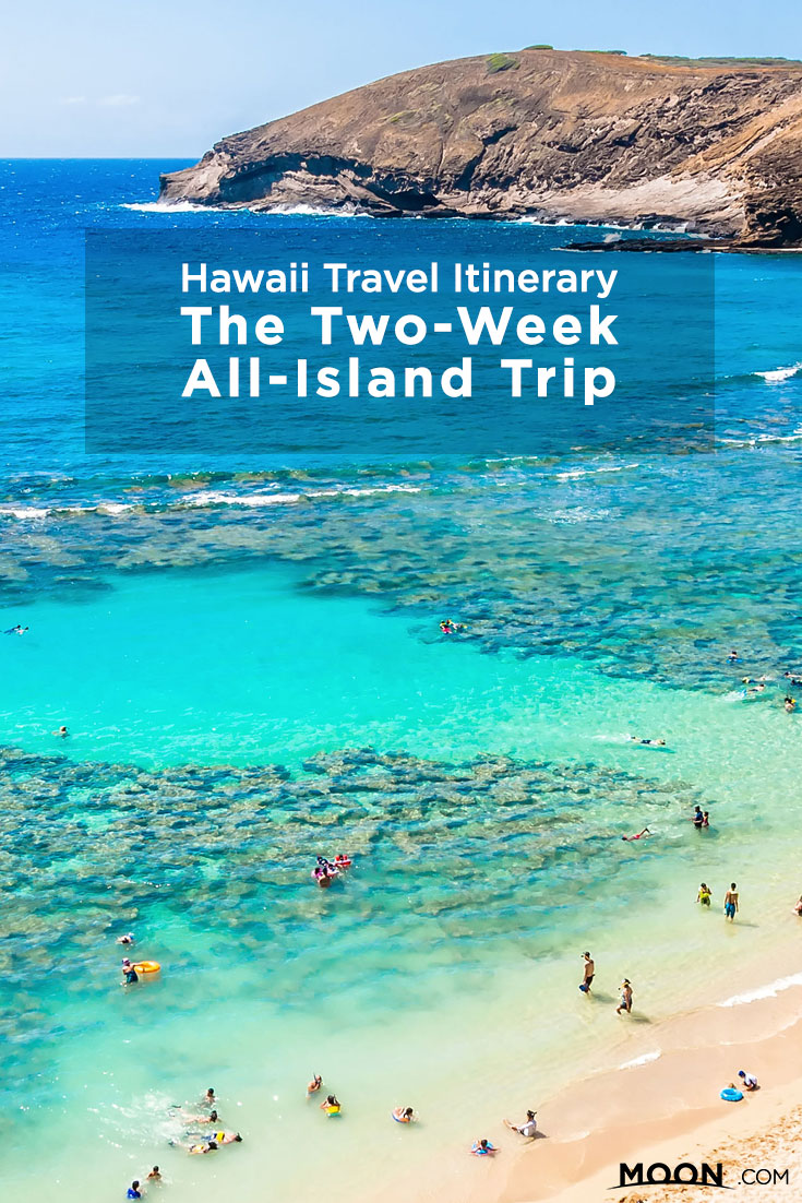 Two week best of Hawaiia itinerary Pinterest graphic