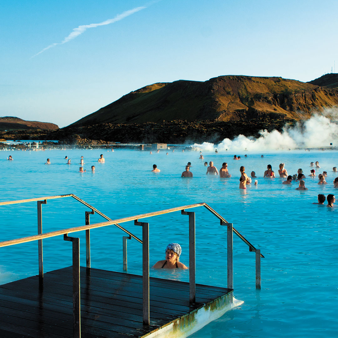 water of the Blue Lagoon steaming in Grindavik Iceland