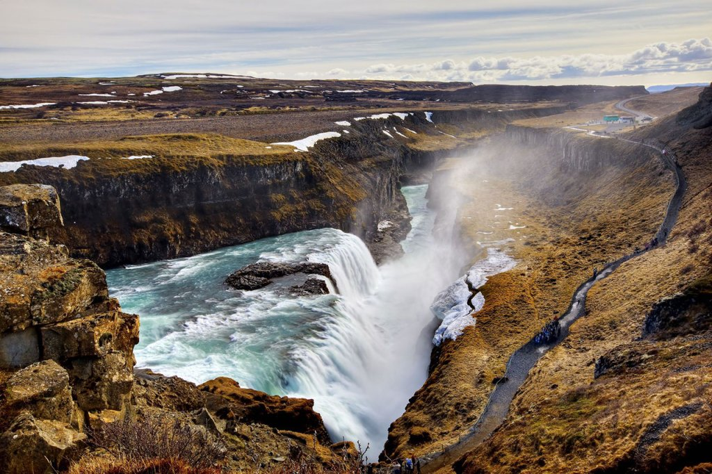 A sunny day at Gullfoss Falls in Iceland.