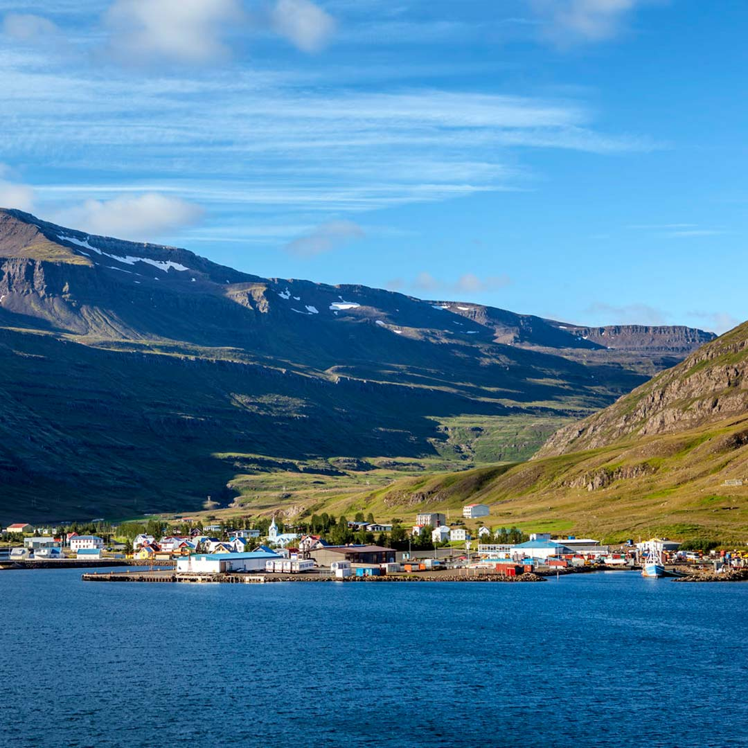 Seyðisfjörður's harbor acts as the main ferry terminal that shuffles passengers to and from continental Europe.
