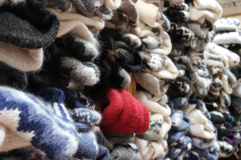 Traditional wool sweaters for sale in Reykjavík.