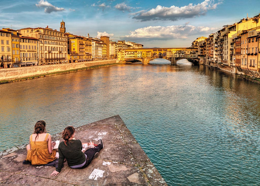 Golden hour over the River Arno in Florence
