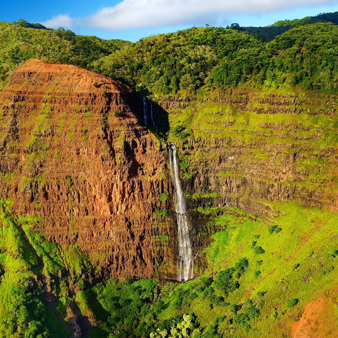 a waterfall plunges into the lush green Waimea Canyon