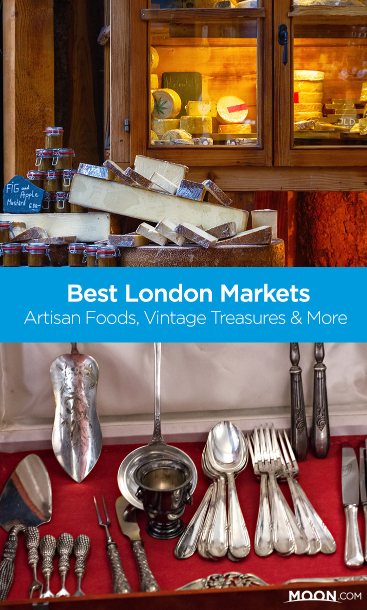 Go shopping in London's bustling markets for vintage treasures, artisan foods, and unique flea market finds. These five markets from Southwark to Notting Hill offer the best of each!