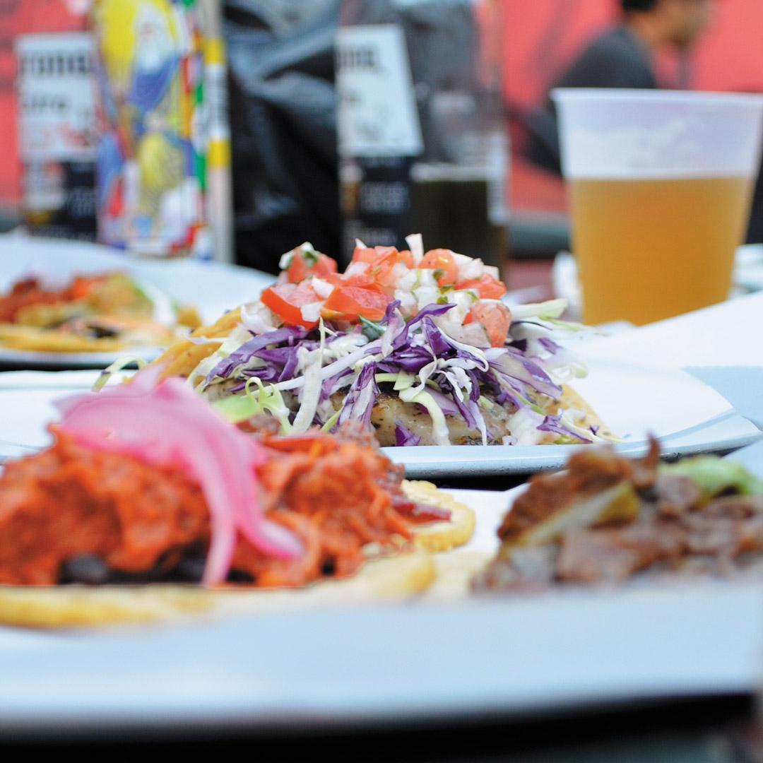 close up of tacos at a los angeles taqueria