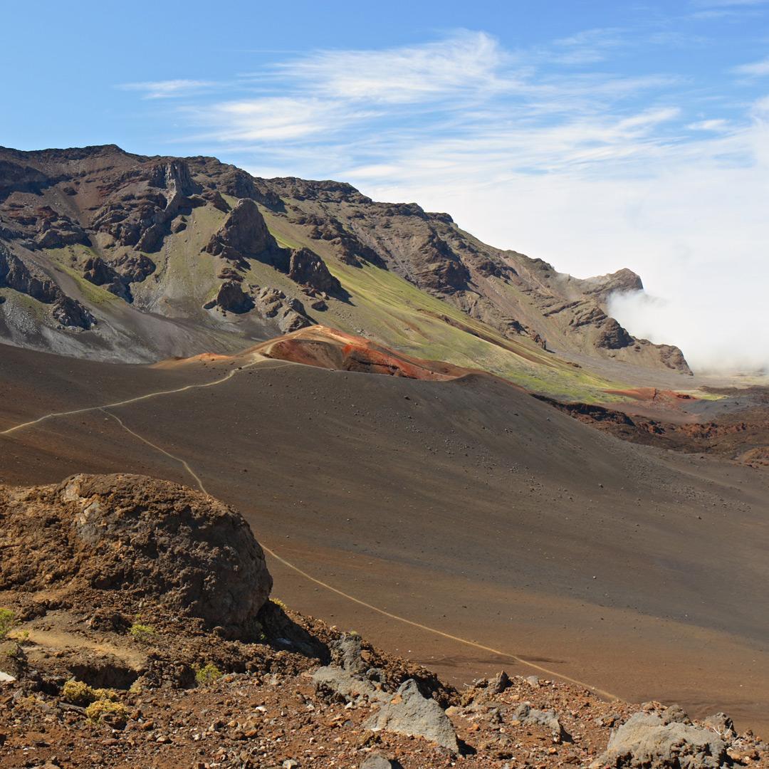 the barren landscape of the Sliding Sands hiking Trail in Haleakala National Park