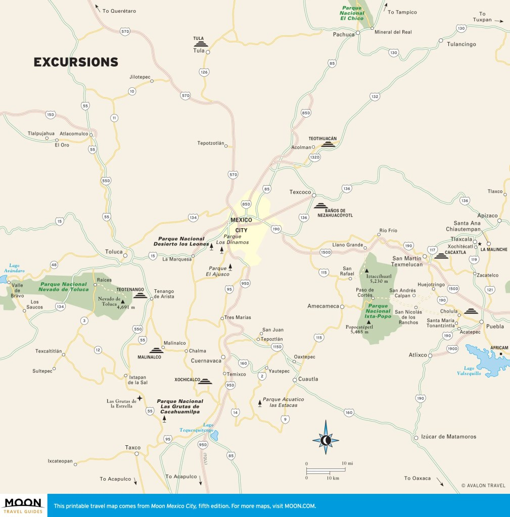 Travel map of excursions from Mexico City