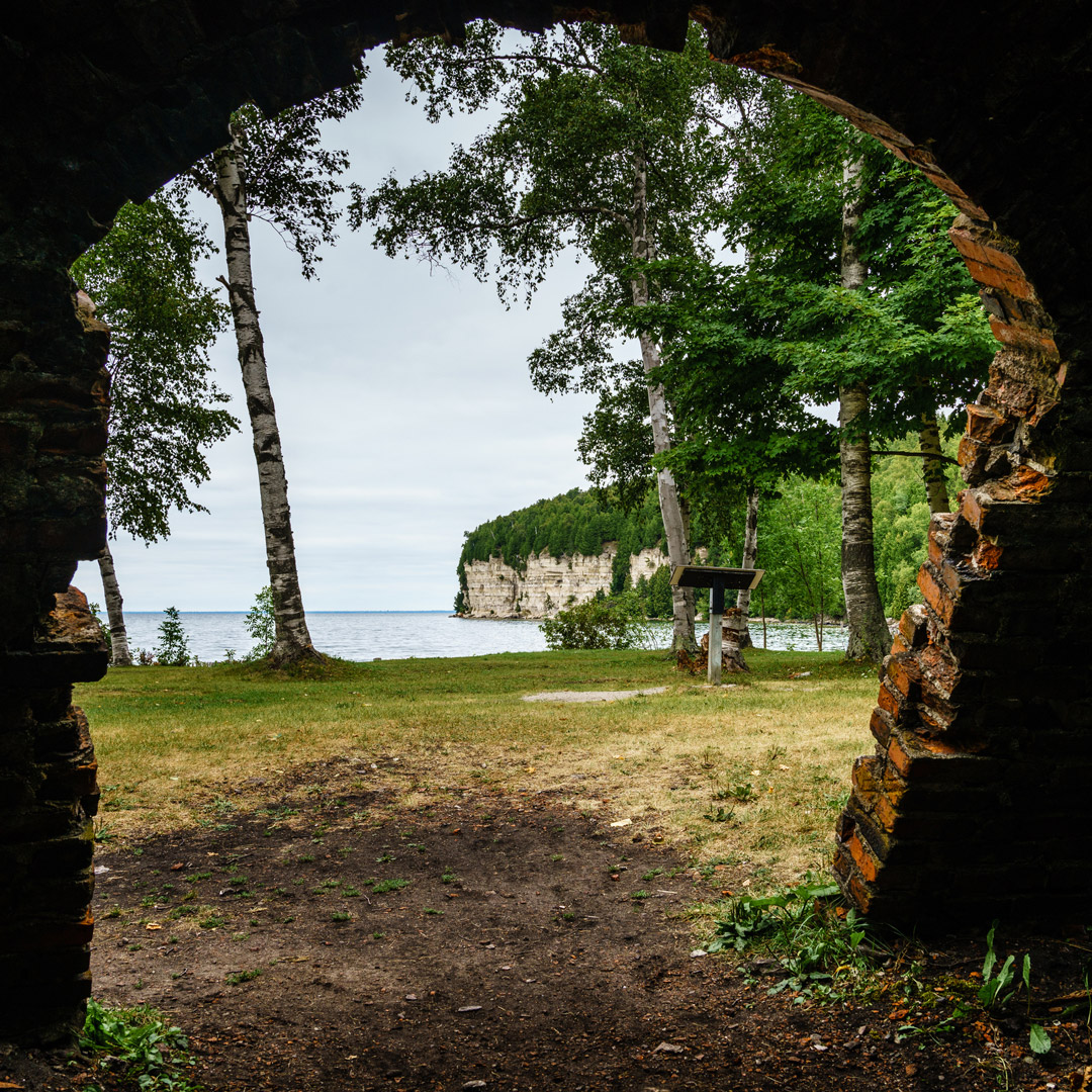 view through a crumbling wall in Fayette State Park