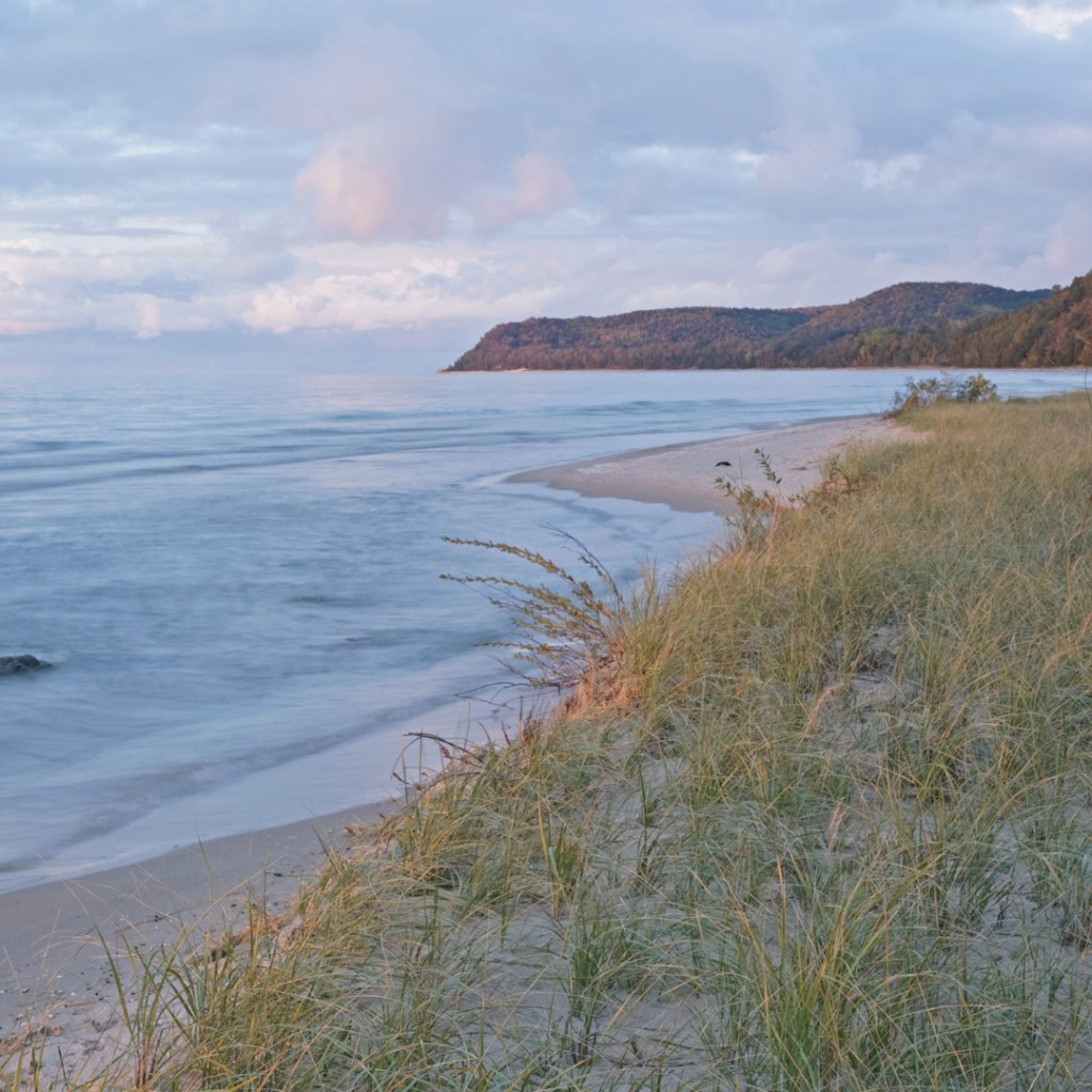 dusk on the beach at Sleeping Bear Dunes
