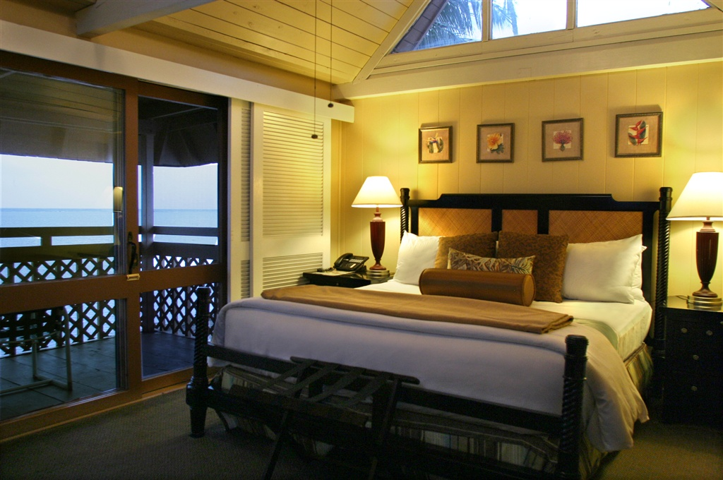 Interior of an oceanview room at Hotel Molokai.