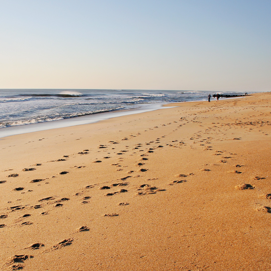 footprints in the sand in the Outer Banks