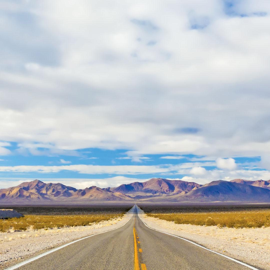 Nevada US 50 leads into a mountainous landscape
