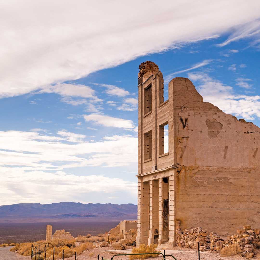bank building ruins in ghost town of Rhyolite, Nevada