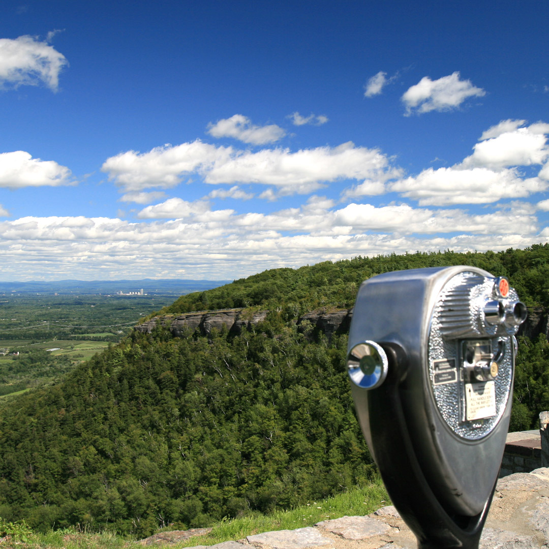 viewfinder looks down into a valley in John Boyd Thacher State Park