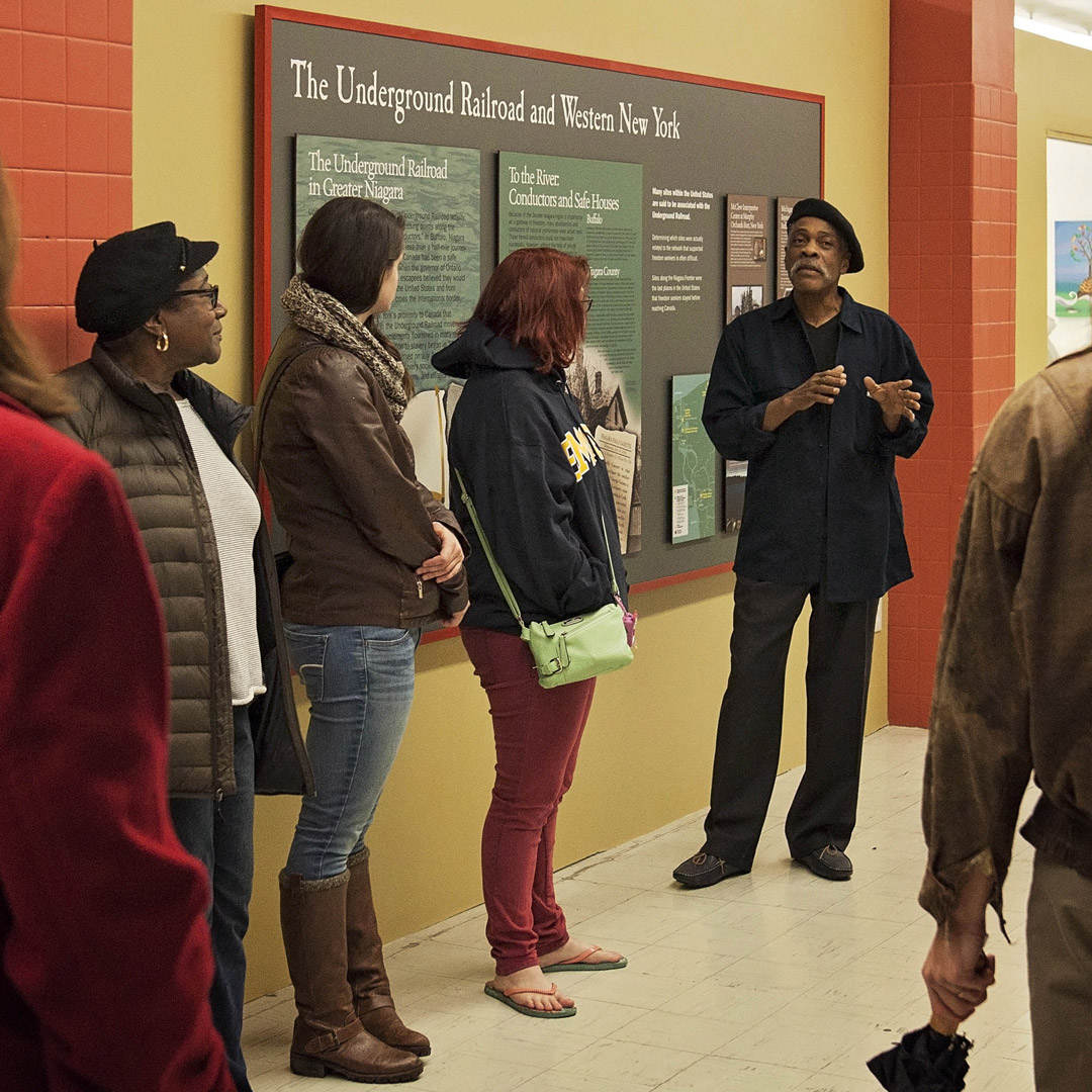 a docent shares the history of the New York Underground Railroad sites