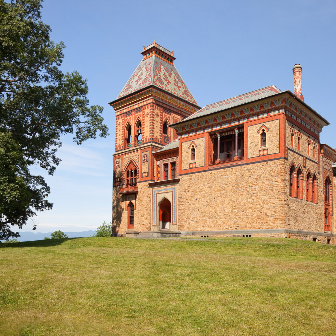 Olana castle perched on top of a hill in the upper Hudson Valley