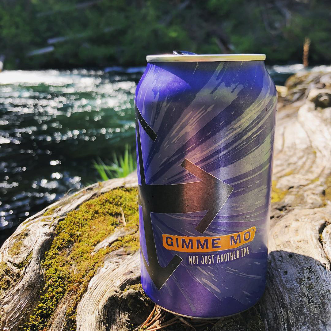 purple beer can on a tree with the river in the background