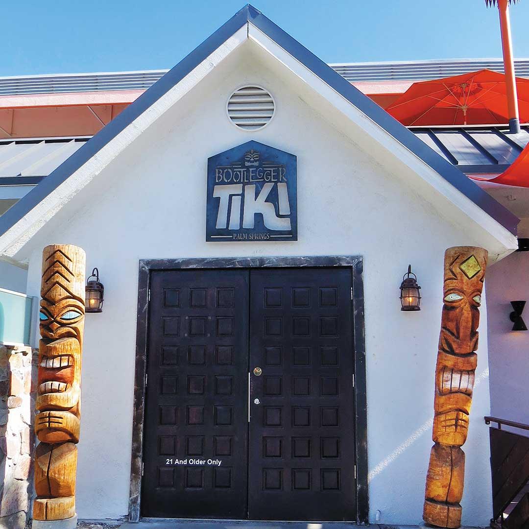 front entrance to Bootlegger Tiki Bar in Palm Springs