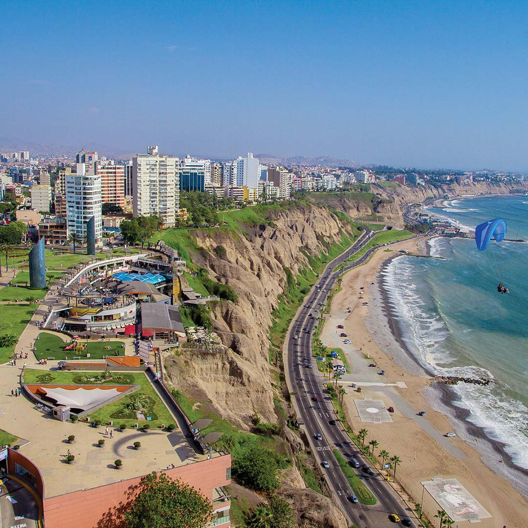Aerial view of the coast near Miraflores