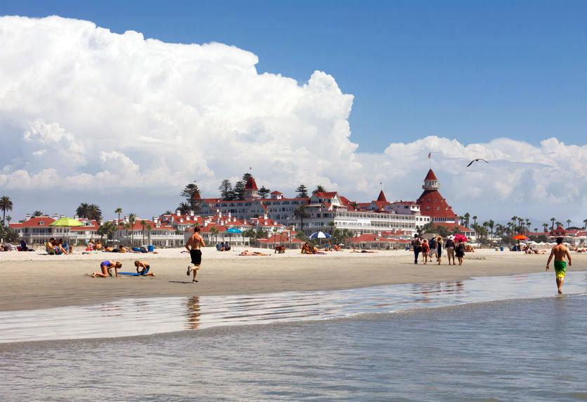 Coronado Beach starts at historic Hotel del Coronado and runs north to a dog-friendly beach.