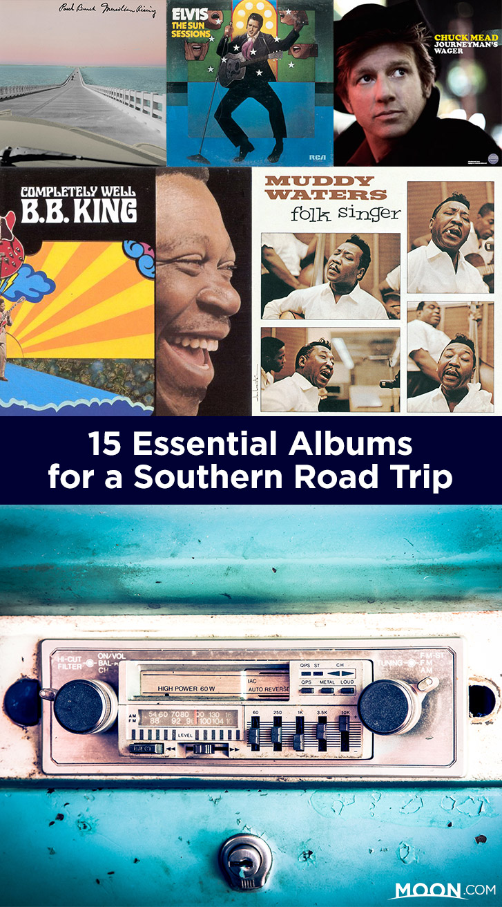 southern road trip songs pinterest graphic
