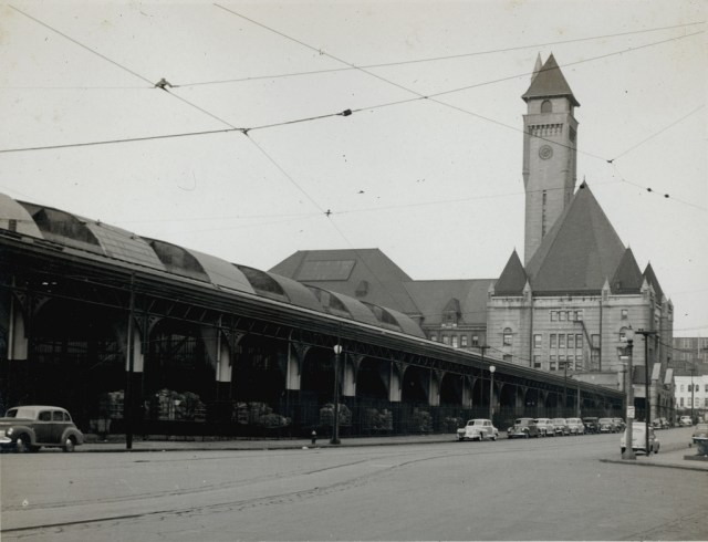 Black and white historical photo of Union Station with its tall tower visible.