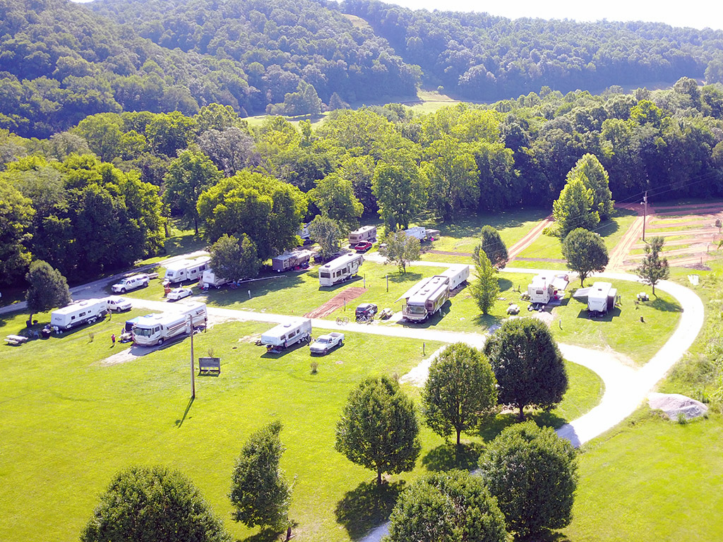 aerial view of RVs parked in a campground in Tennessee