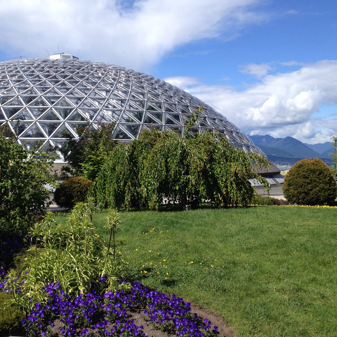 outside view of the dome of Bloedel Conservatory