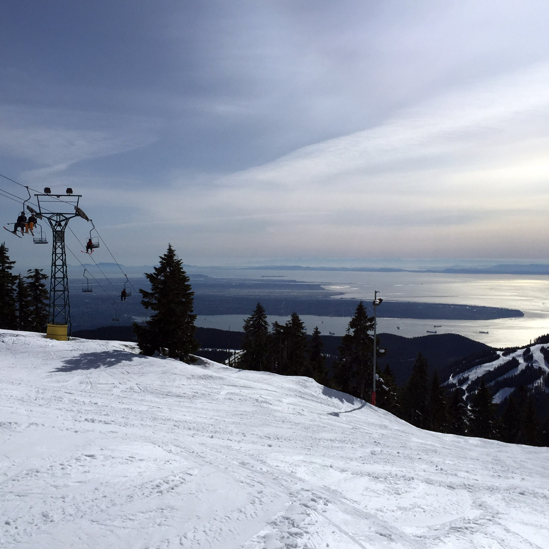 ski lifts at Cypress Mountain with views of Vancouver