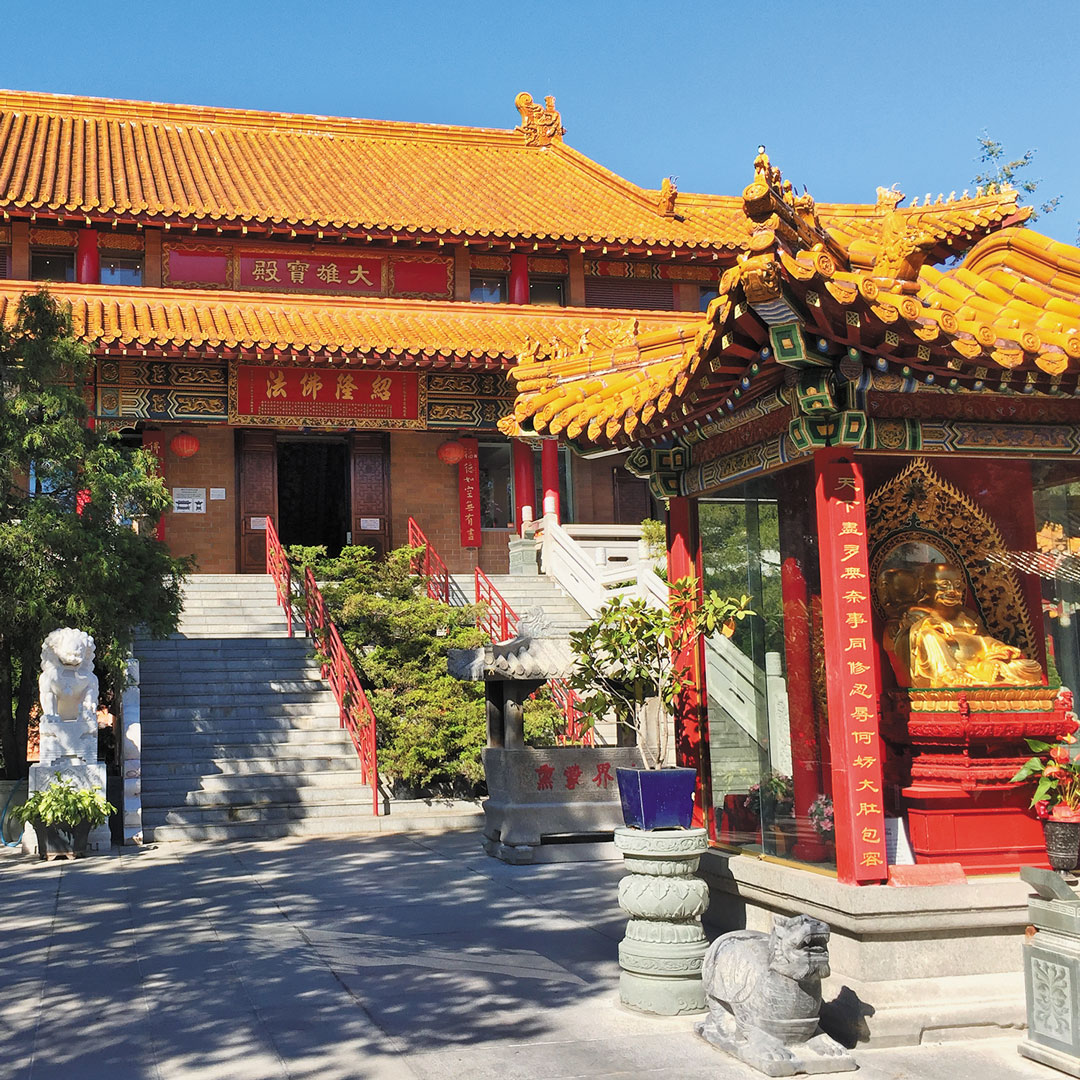 front view of the International Buddhist Temple in Vancouver's Richmond neighborhood