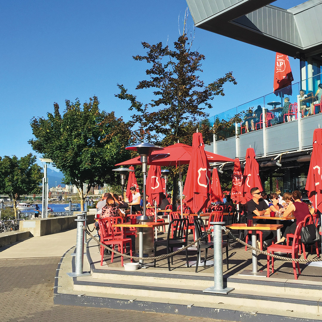 patio of a brewery in the False Creek neighborhood of Vancouver