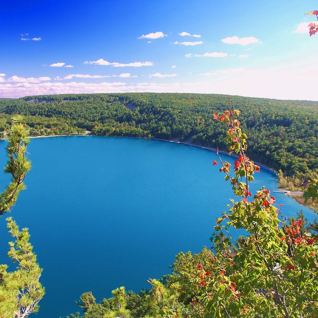 Beautiful view of Devils Lake State Park in Wisconsin.