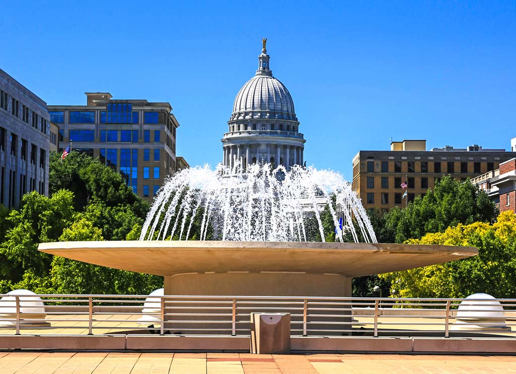 Looking at the Monona Terrace fountain towards Wisconsin Ave and the State Capitol building in Madison
