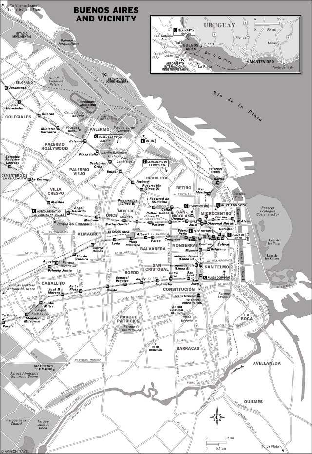 Map of Buenos Aires, Argentina and vicinity