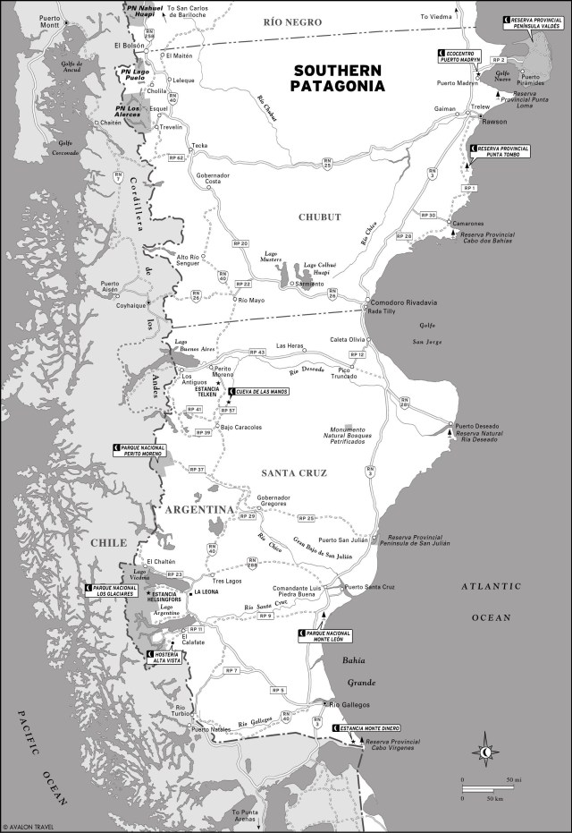 Map of Southern Patagonia, Argentina