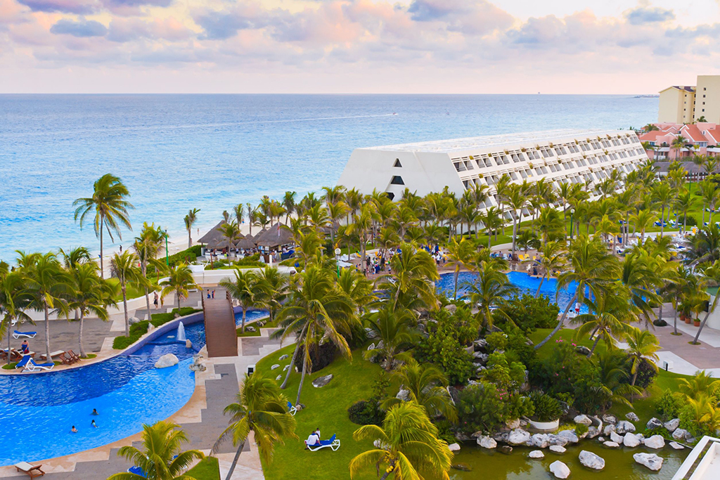 aerial view of a resort in cancun