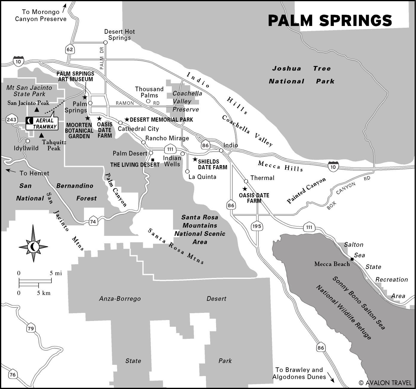 Map Of California Showing Palm Springs.Travel Itinerary Palm Springs Weekend Getaway Moon Travel Guides