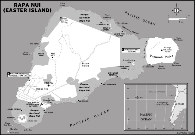 Map of Rapa Nui (Easter Island), Chile