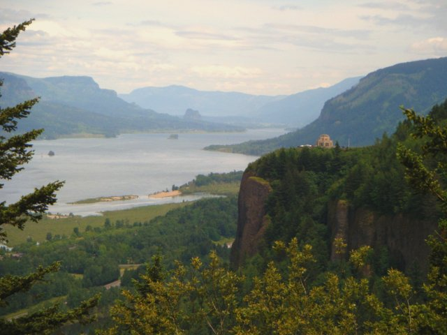 View of the Columbia River and the verdant walls of the gorge.