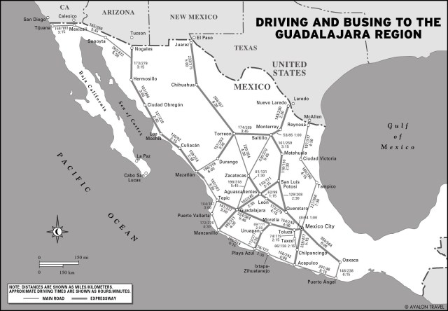 Map of Driving and Busing to the Guadalajara Region